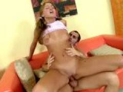 Superb blonde teen babe with sexy tits Rockie jumping a large phallus on the couch